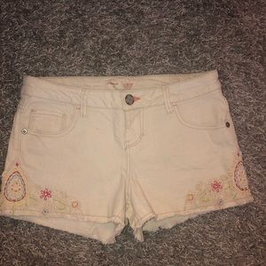 Cream Denim Shorts